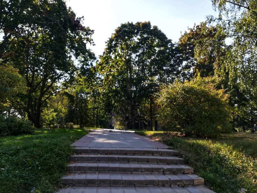 В конце дорожки поднимаемся по каменной лестнице и заходим в парк